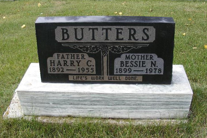 gravestone: Harry & Bessie Butters