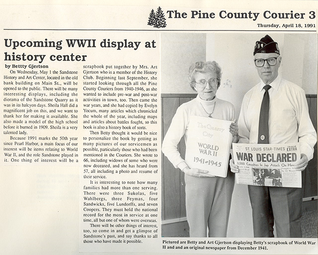 1991 Betty & Art Gjertson Pine County Courier News