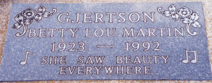 gravestone Betty Gjertson